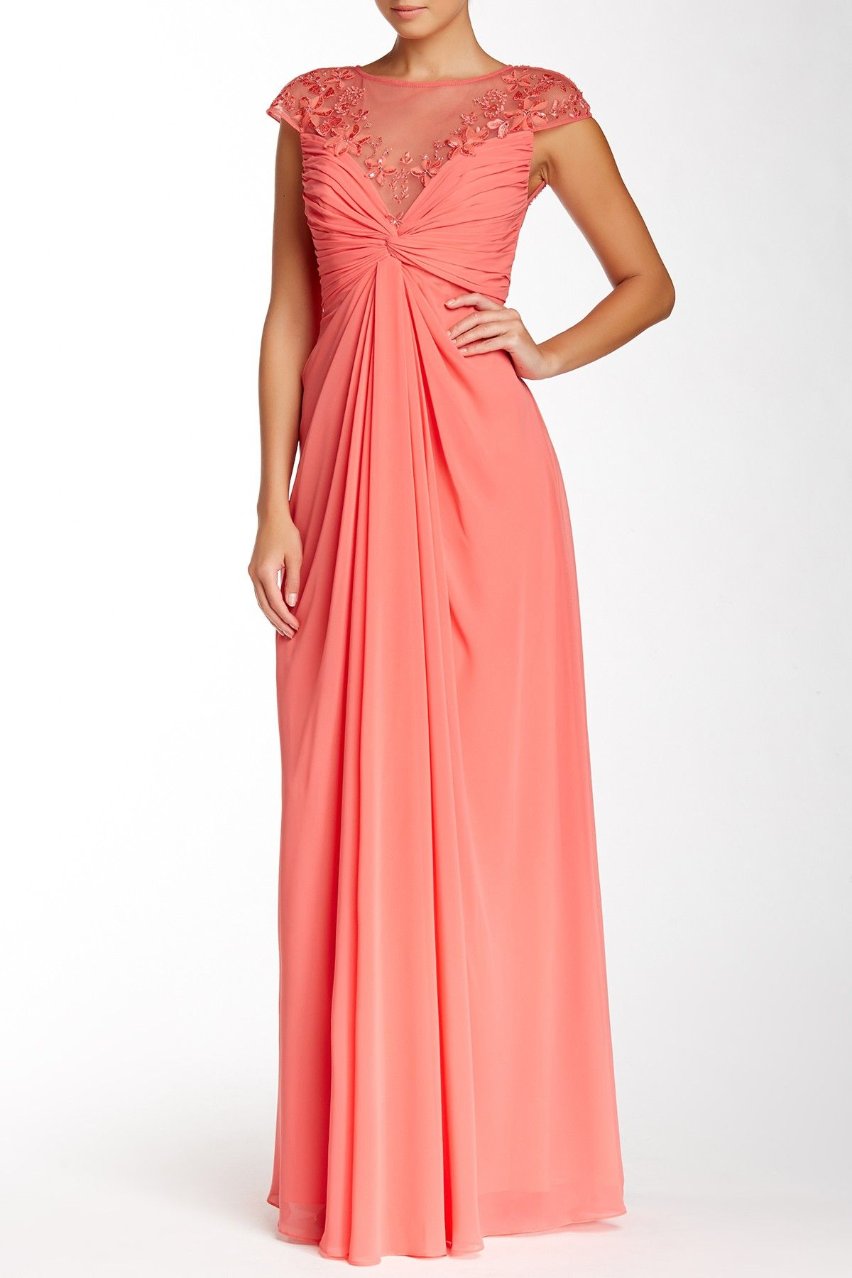 Draped Chiffon Gown | Chiffon gown, Monique lhuillier and Nordstrom