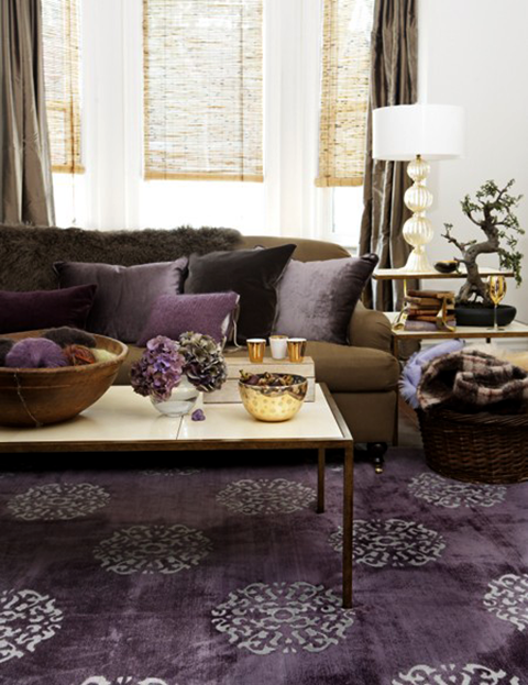 High Quality Feng Shui Weath Area: CARPET U0026 PILLOWS Modern Living Room With Purple Rug,  Chocolate Brown Sofa Couch, Purple Cushions And Brown Curtains Gunna Try  This In ...