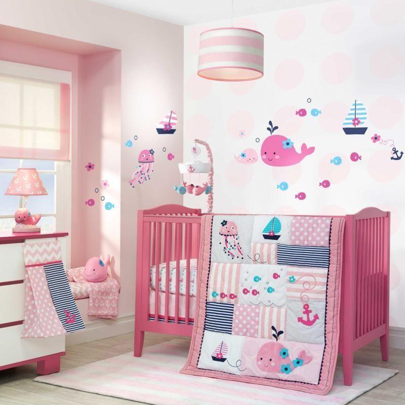 Nautical Baby Girls Pink Patchwork Nursery Whales U0026 Fish 4 Pc Crib Bedding  Set #LambsIvy