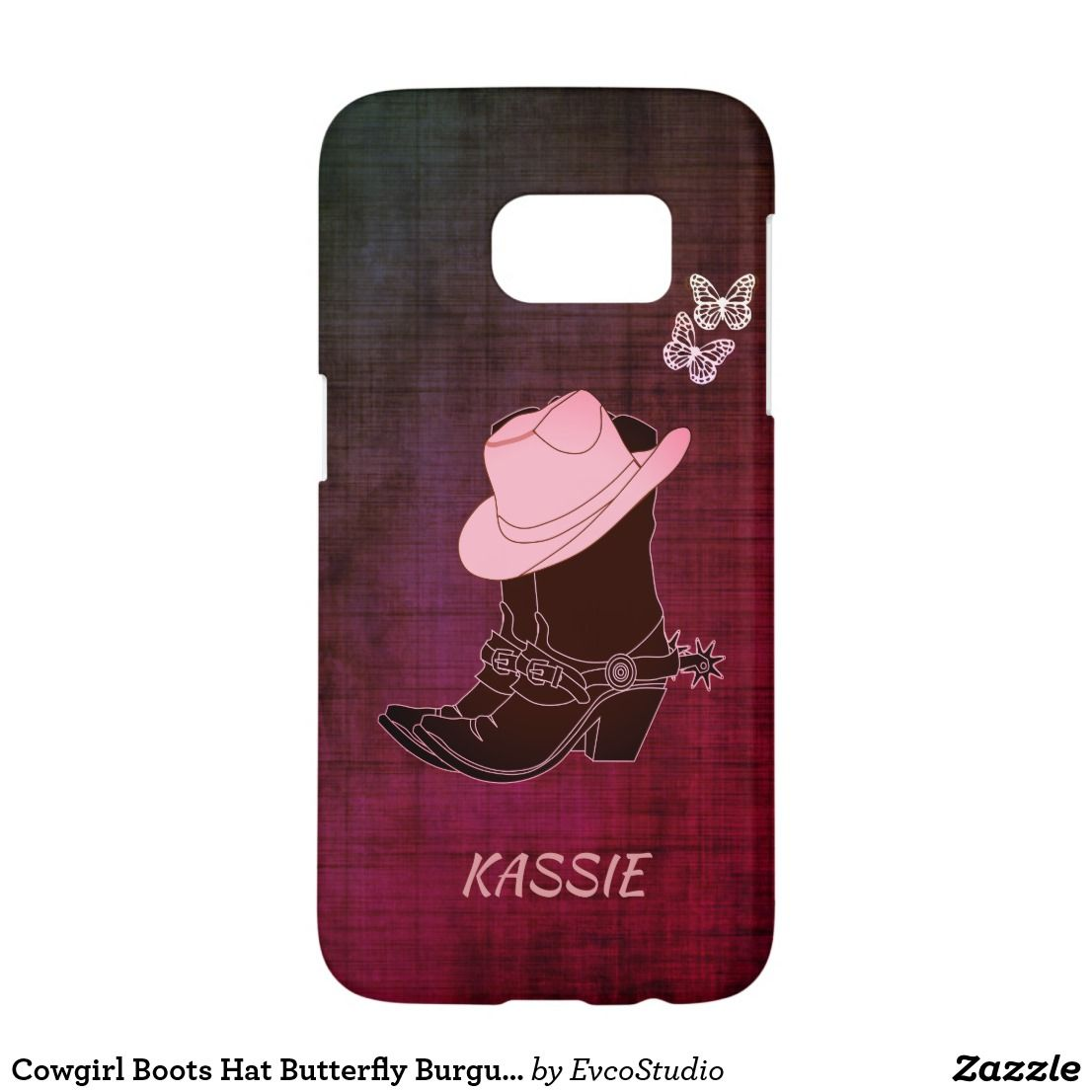 Cowgirl Boots Hat Butterfly Burgundy Personalized Case Mate Samsung Galaxy Case Samsung Galaxy S7 Cases Cowgirl Boots Samsung Galaxy Case