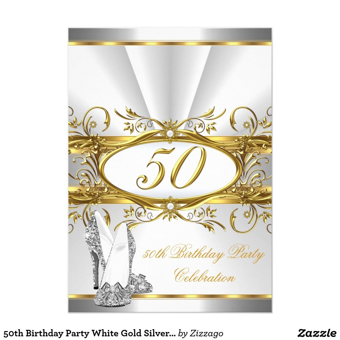 50th Birthday Party White Gold Silver Heels 5x7 Paper Invitation ...