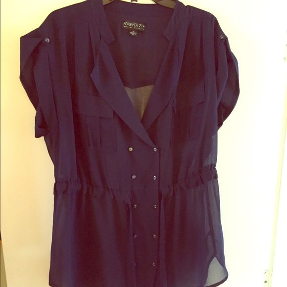 Navy Forever 21 Plus Tie Top Sheer Navy Top. Size XL. Forever 21 Tops Blouses