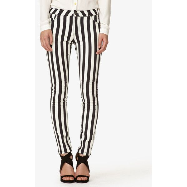 FOREVER 21 Vertical Striped Skinny Jeans ($20) ❤ liked on Polyvore