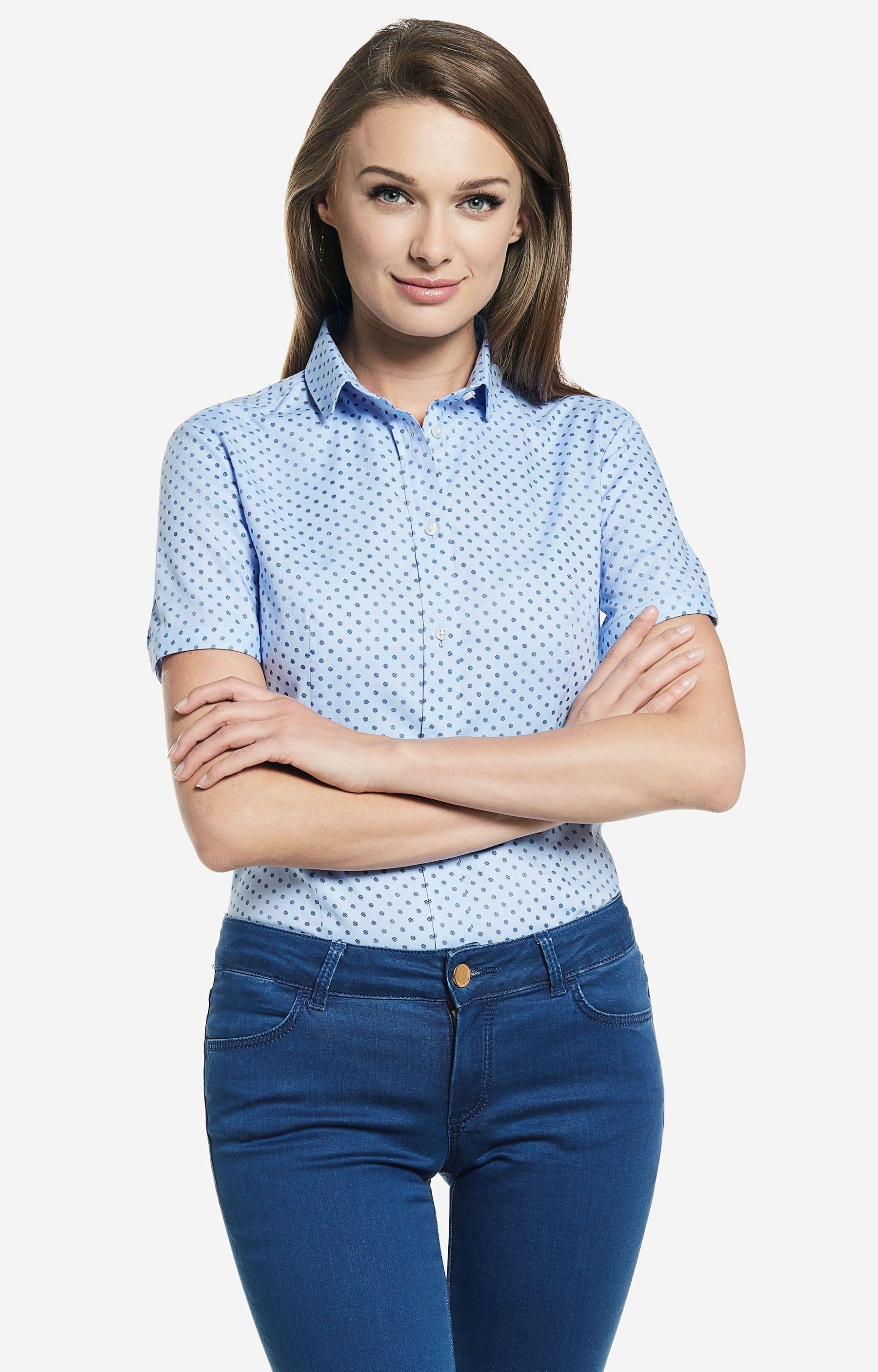 Koszule damskie Lambert Niebieska koszula damska krótki  hektF