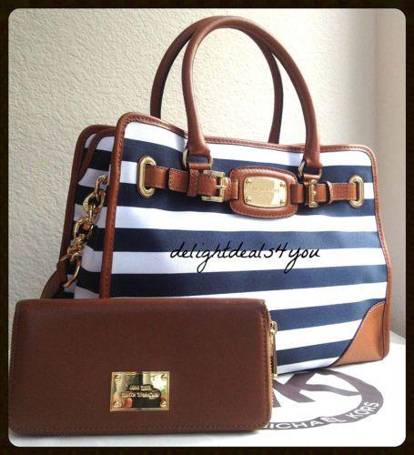 63a934c55c4a RARE Michael Kors Navy Blue White Luggage Striped Hamilton Tote Handbag  Wallet