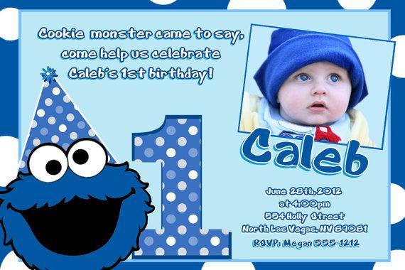 Cookie Monster Birthday Invitations Diy Digital Printable File Monster Birthday Invitations Monster Birthday Party Invitations Monster 1st Birthdays