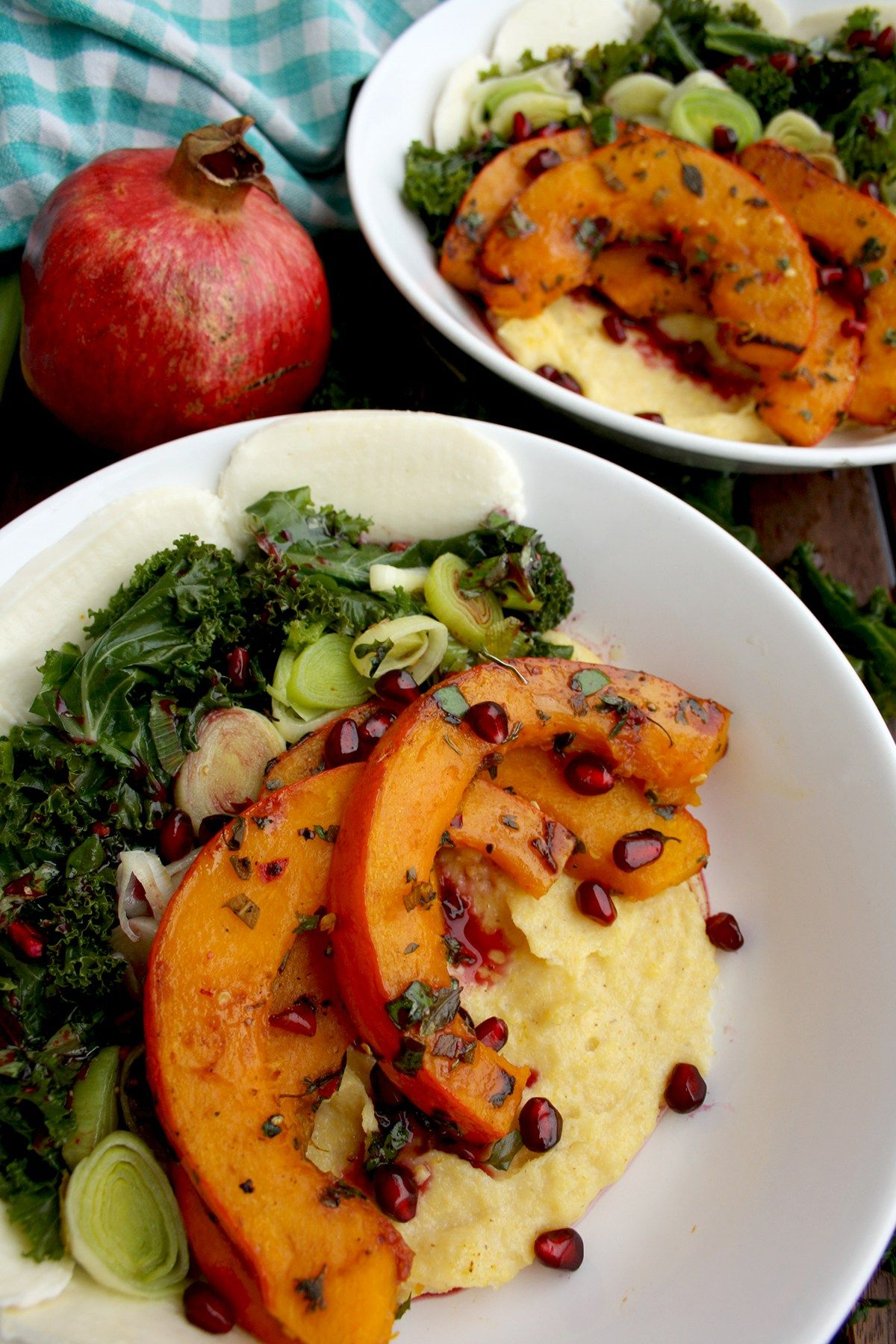 pumpkin and kale with creamy polenta: meatless monday dinner