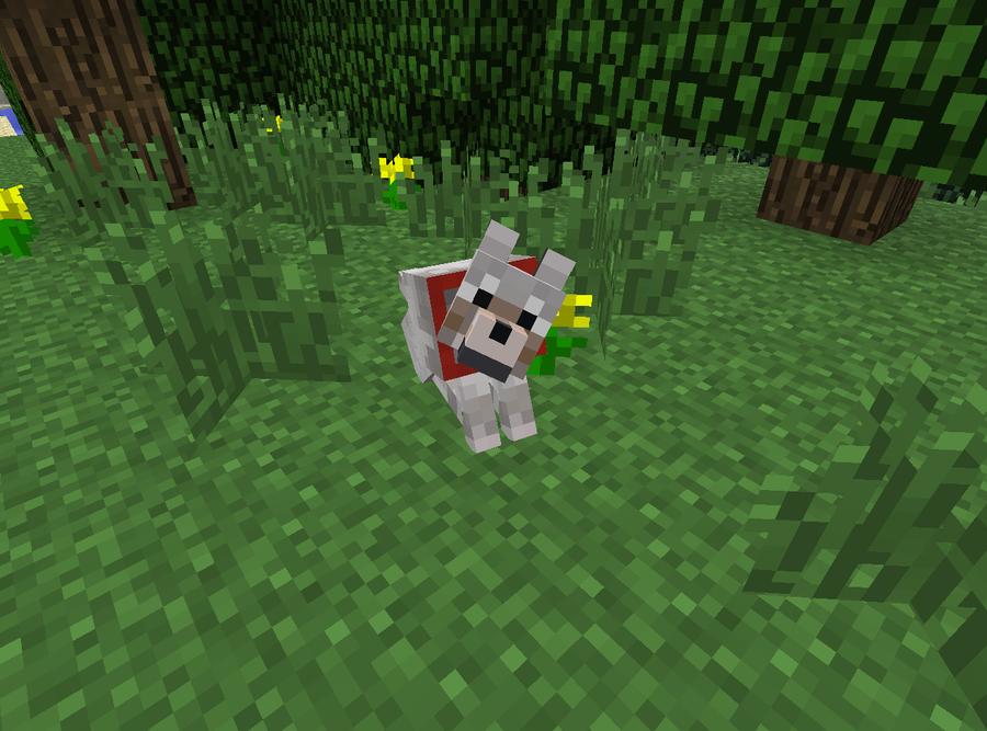 Minecraft Sitting Tame Wolf Minecraft Dogs Minecraft Wolf Minecraft Decorations