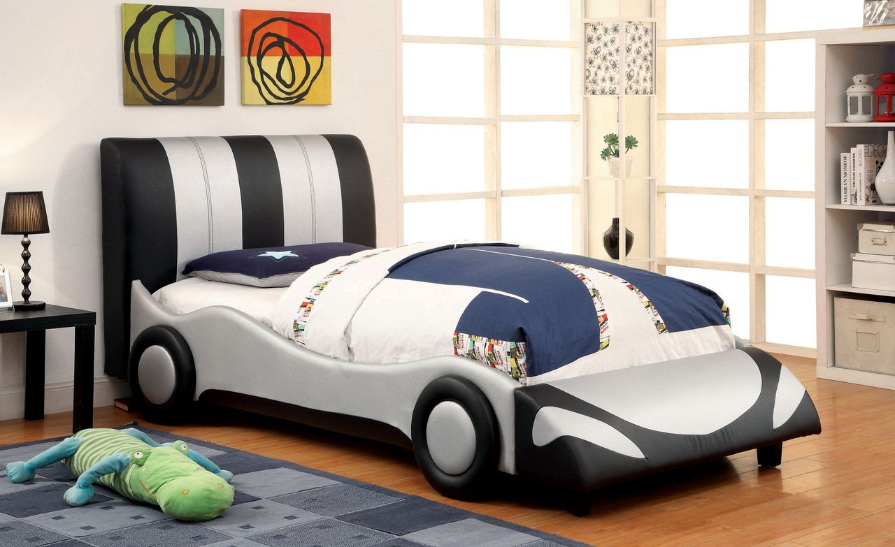 Super Racer Black And White Full Size Bed Twin Car Bed Loft Bed