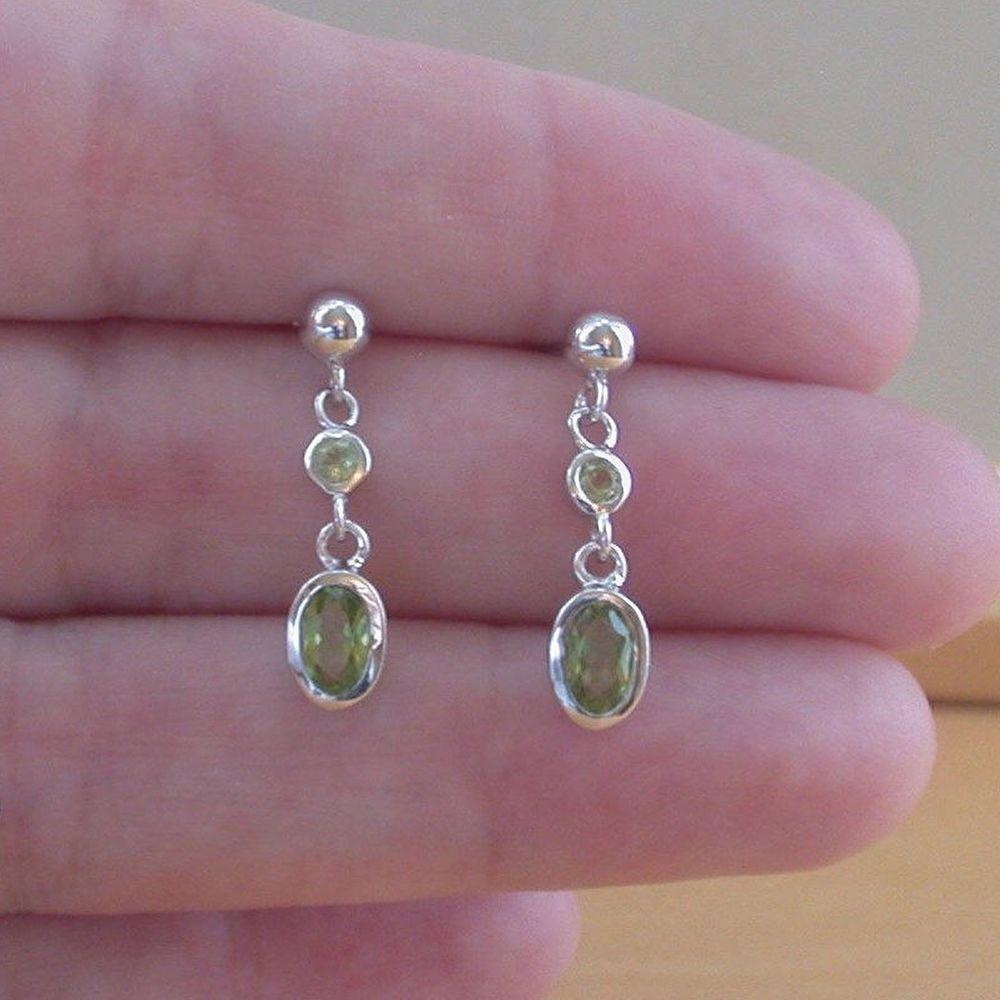 925 Peridot Oval Stud Earrings Silver Genuine