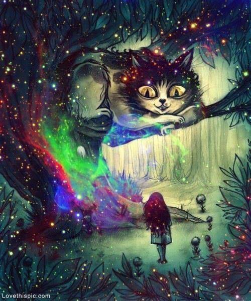 Alice In Wonderland Illustration Colorful Art Painting Fairytale