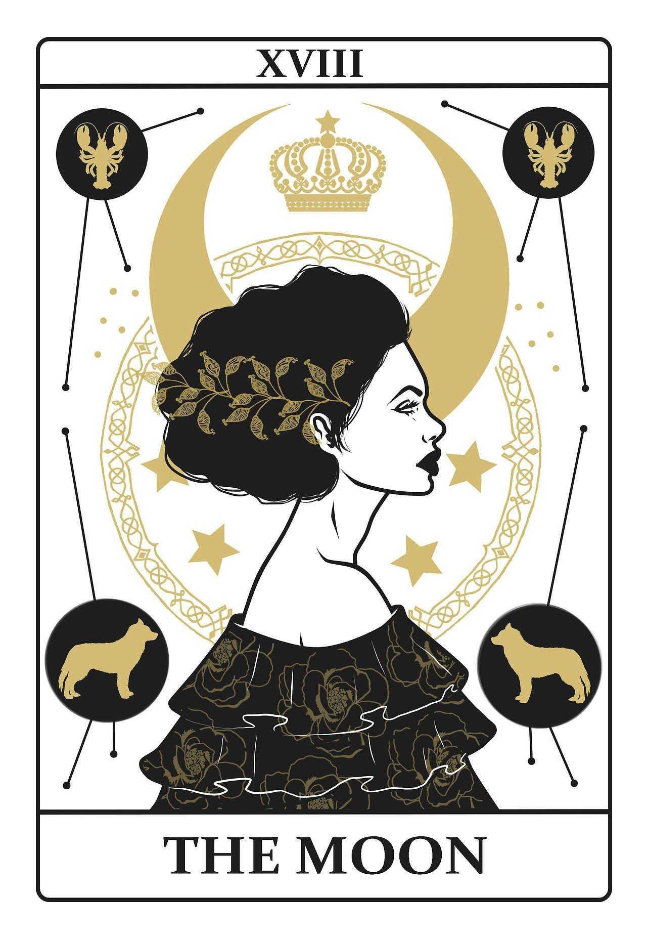 Elegant tarot card wallpaper the moon tarot card tarot
