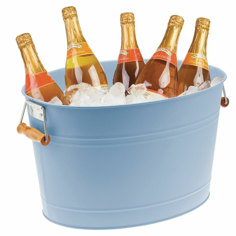 Metal Beverage Tub with Handles 4 75 Gallons by mDesign
