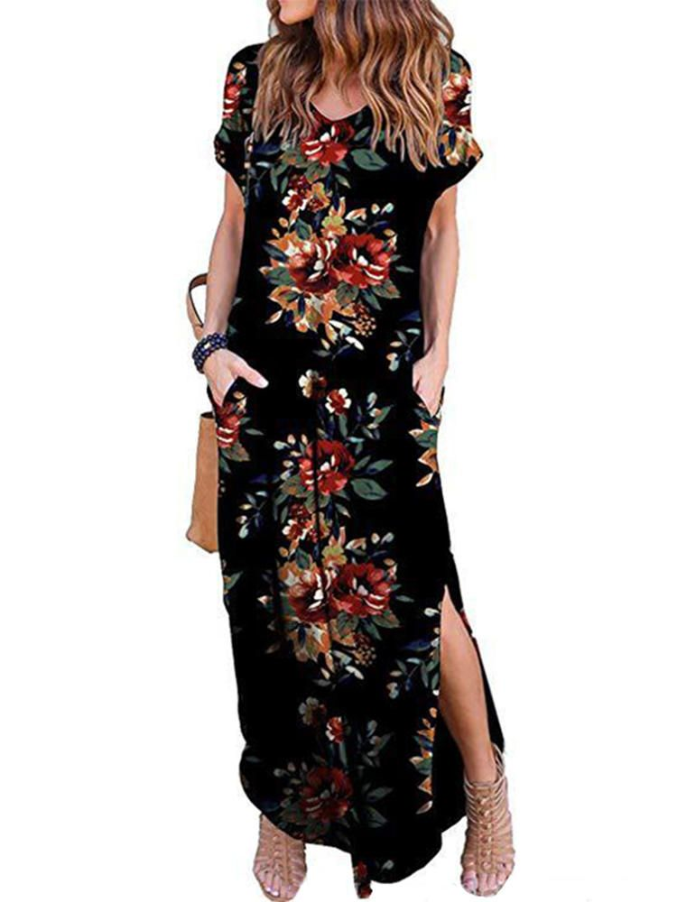 Women Casual Plus Size Short Sleeve Printing O-Neck With Pockets Long Maxi Dress