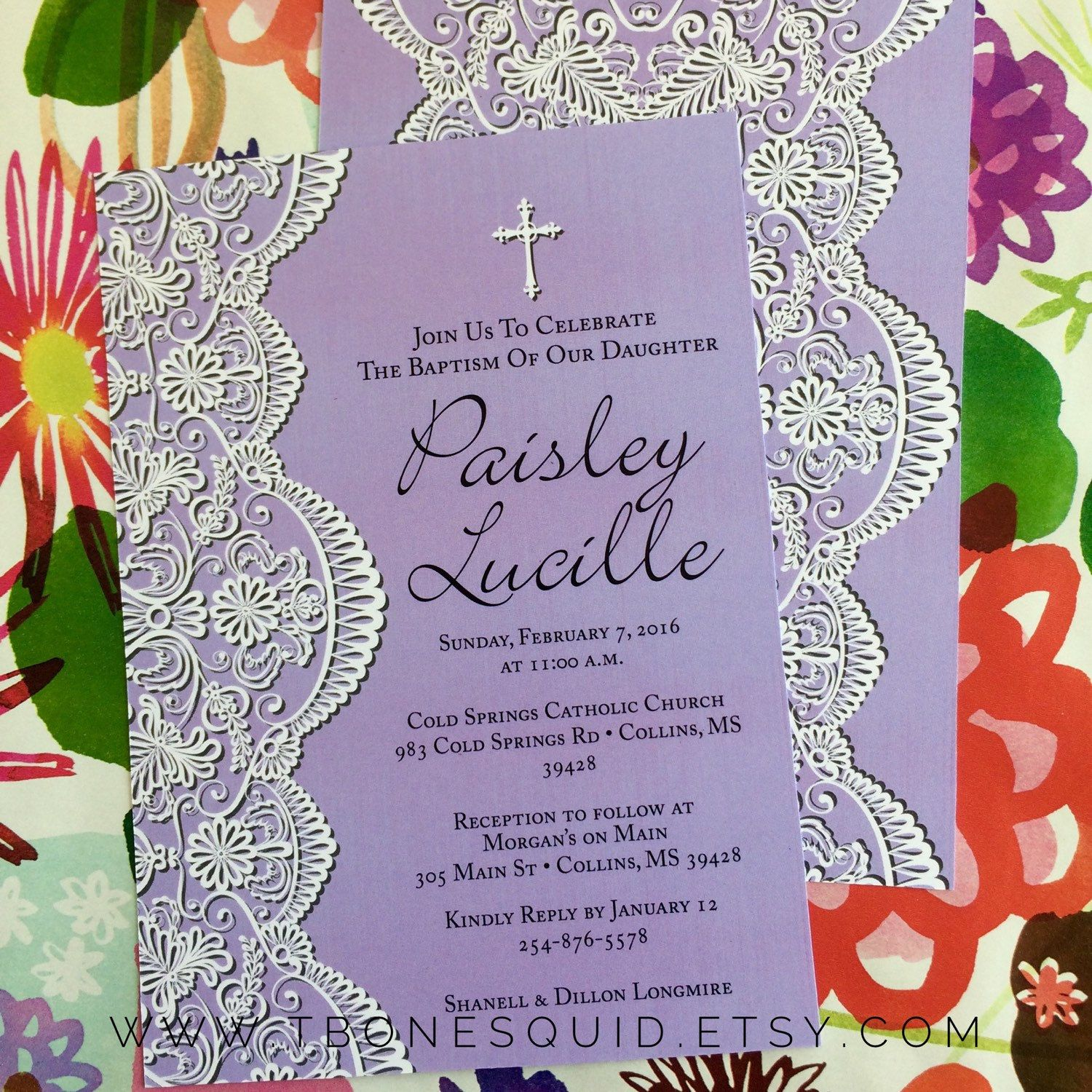 Baby Dedication, Baptism or First Communion Invitation with Lace ...