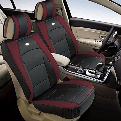 FH GROUP PU205102 Ultra Comfort Leatherette Front Seat Cushions Airbag Compatible Burgundy Black Color Fit Most Car Truck Suv Or Van