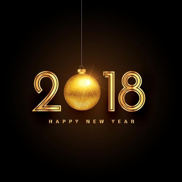 Golden 2018 Happy New Year Background Design