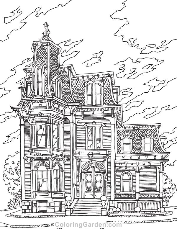 Free printable Victorian house adult coloring page. Download it in ...