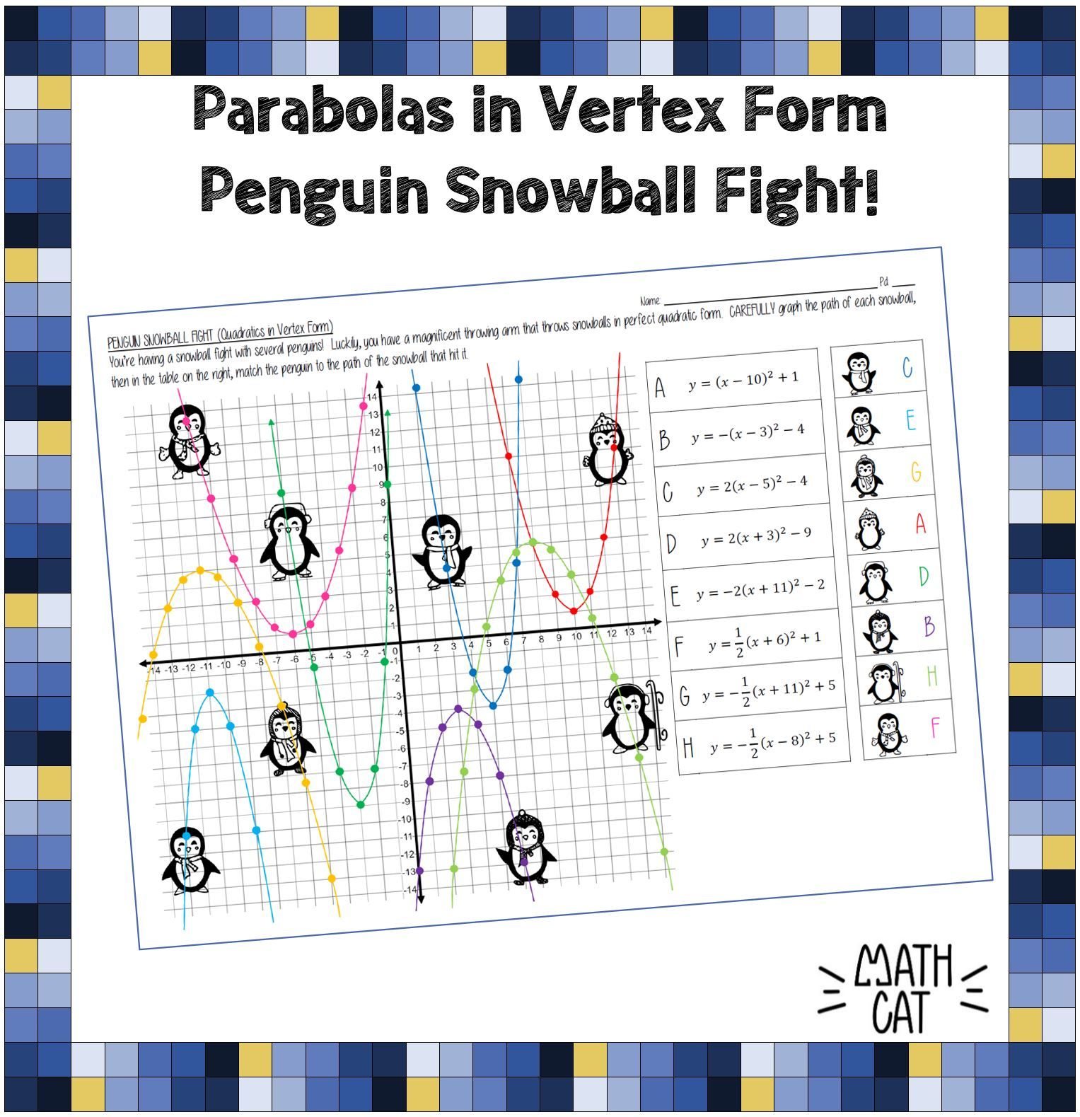 Penguin Snowball Fight! Graphing Parabolas in Vertex Form   Graphing  parabolas [ 1579 x 1527 Pixel ]