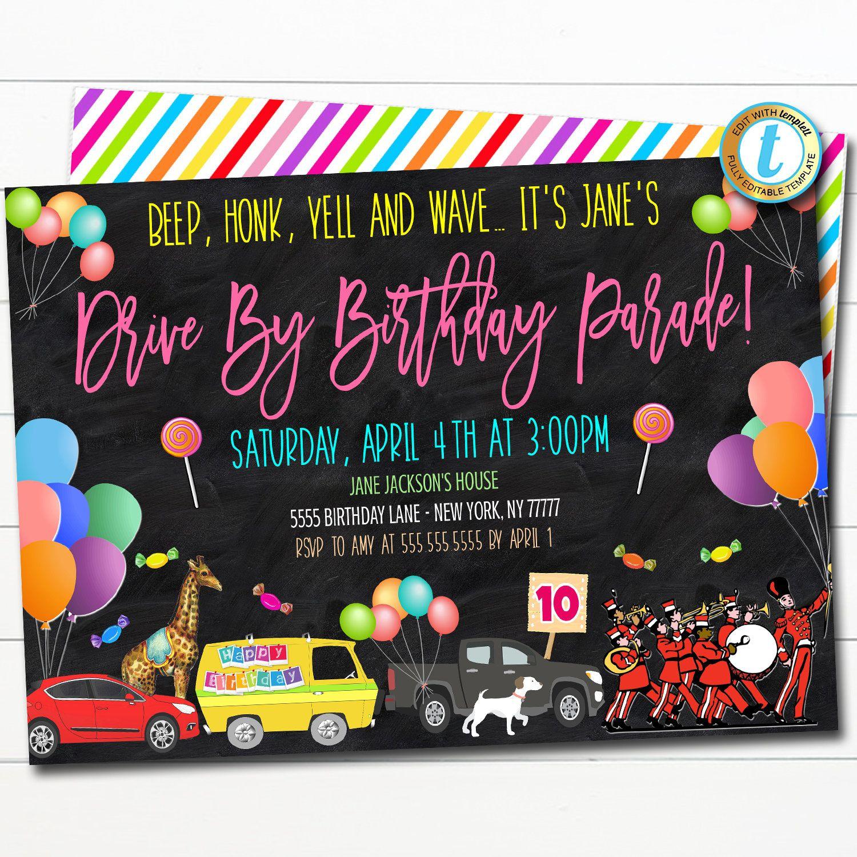 Drive By Birthday Parade Invitation Virtual Birthday Party Invitation Digital Kids Friend Party Invite Ins Party Invite Template Diy Invitations Invitations