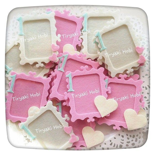 ♥ Tiryaki Hobi ♥: Keçe çerçeve magnet - ESMA  ---------   felt photo frames