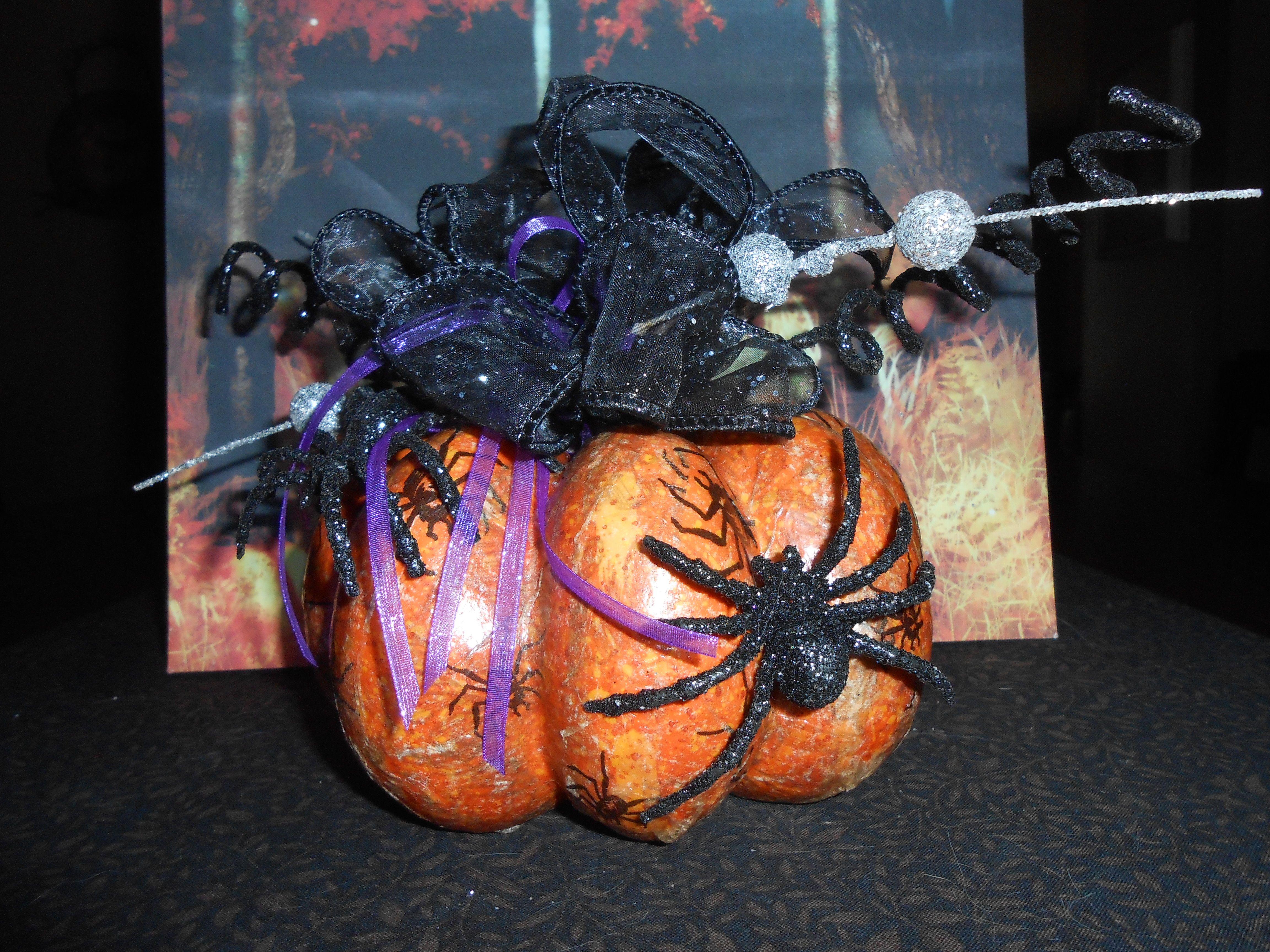 Styrofoam Pumpkin, Halloween Napkins (White Backing Peeled) Cut Into Strips