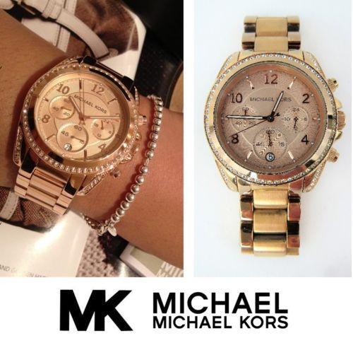 5e7359057d03 LADIES-Michael-Kors-MK-5263-Rose-Gold-Quartz-Chronograph-Watch -Date-New-Battery