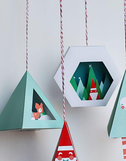 Chirstmas Ornament Prinable DIY Craft - Snow Globe