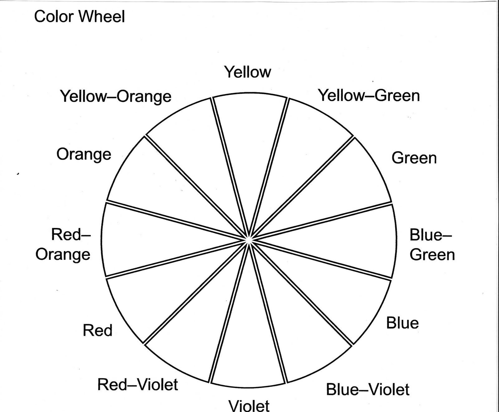 Color Wheel Worksheet Printable In