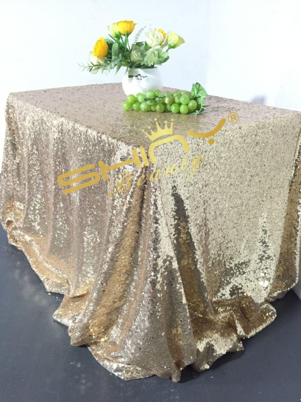c2b580454df1e 90x156inch Light Gold Sequin Tablecloth Wedding Cake Tablecloth-Light Gold   Affiliate