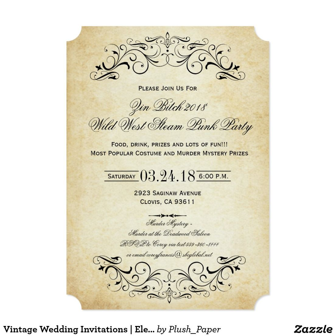 Vintage Wedding Invitations | Elegant Flourish | Vintage wedding ...