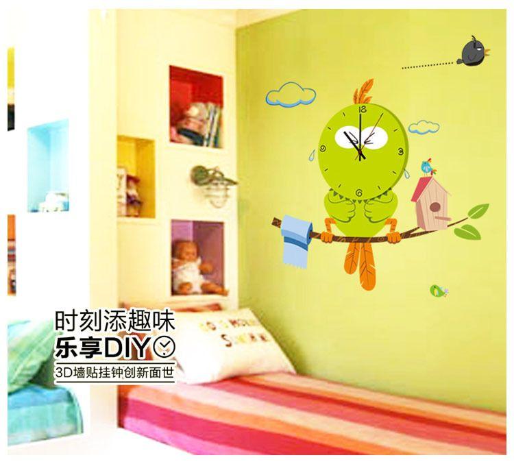 Cartoon Bird DIY sticker clock Vinyl PVC wall clock Children Desk ...