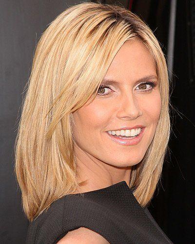 Heidi Klum Mit Schulterlangen Haaren Haarschnitt Frisuren Schulterlang Frisuren Halblanges Haar