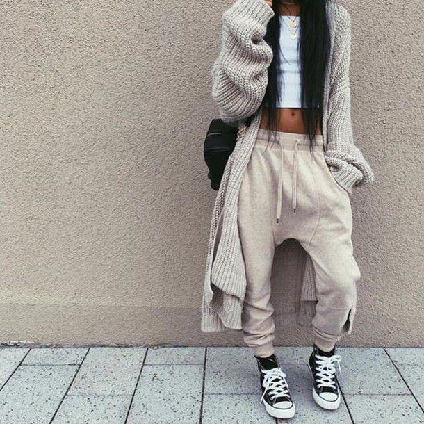 pants sweatpants grey pants tumblr sporty sneakers