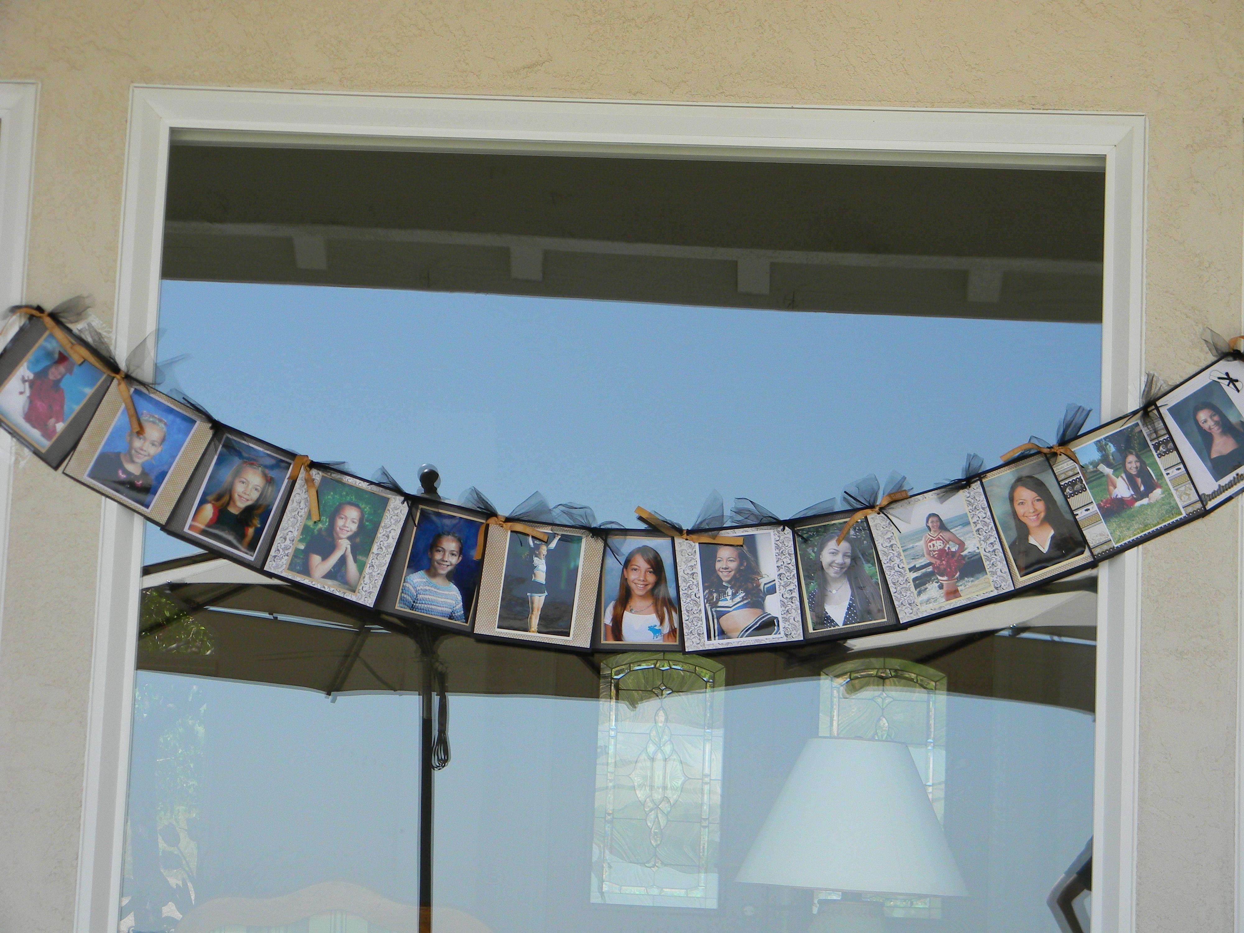 Graduation banner photos from every year kindergarten through