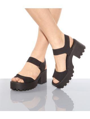 7e066cb42e03 Black (Black) Black Chunky Cleated Sole Block Heel Sandals ...