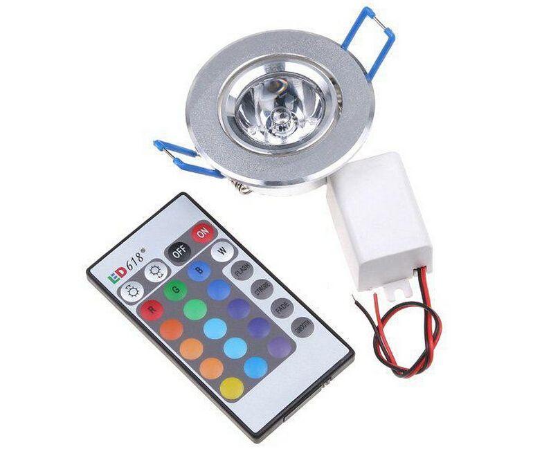 20pcs 3W LED RGB Downlight 85V-265V LED ceiling RGB bulbs recessed ...