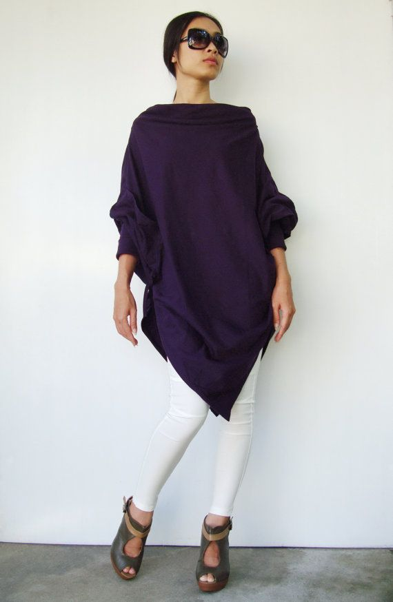 NO59   Dark Violet CottonBlend Batwing Tunic Loose by JoozieCotton, $44.00