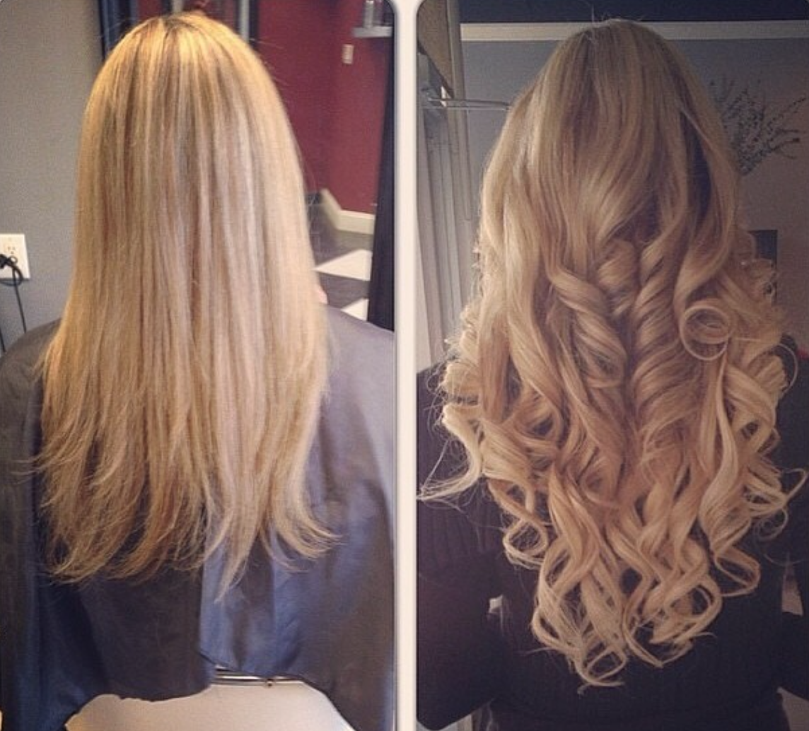 Before And After Using 22 Inch Hair Extensions Glam Seamless Hair