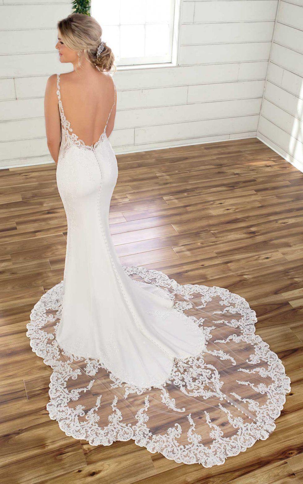 Essense of Australia D2993 crepe simple wedding dress in