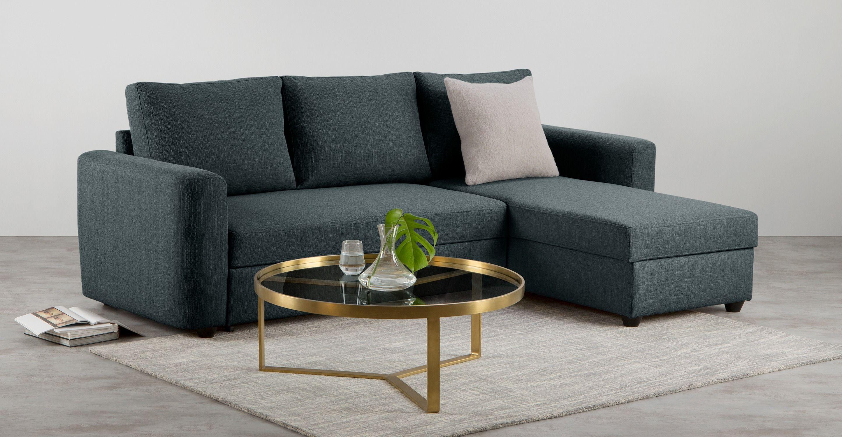 Aidian Corner Storage Sofa Bed, Night Blue Sofa, Sofa