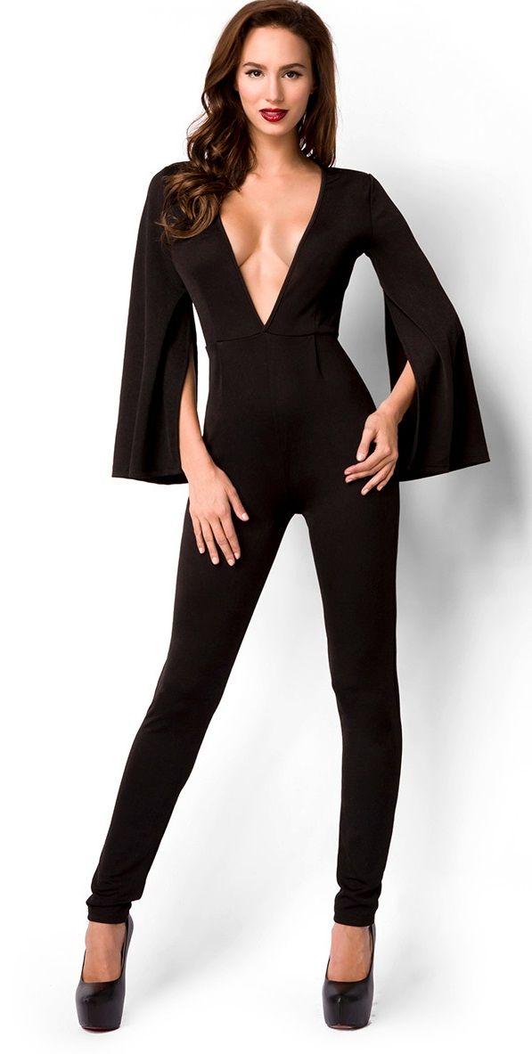 Exceptionnel Combi+pantalon+femme+I+combinaison+pantalon+noire+de+soirée.+Cette  FK55