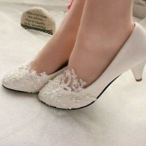 White Ivory Lace Pearl Wedding shoes Bridal bridesmades flats low high heel pump...