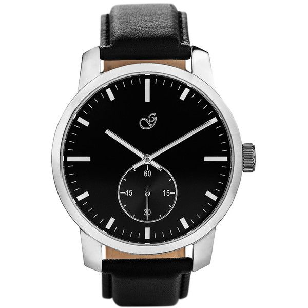 Vd Polished ($159) ❤ liked on Polyvore featuring men's fashion, men's jewelry, men's watches, mens black face watches, mens leather strap watches and mens black watches
