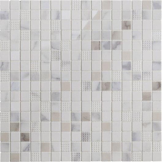 Mosaique Mur Murano Carree Blanc Carrare 1 7 X 1 7 Cm Carrare Murano Et Mosaique