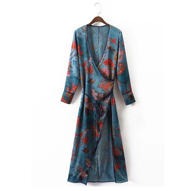 2017 de la Flor Étnica Kimono Camisa de Impresión con los marcos ...