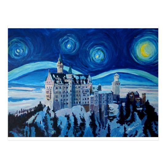 Starry Nacht Mit Romantischem Schloss Van Gogh Postkarte Zazzle De Starry Night Castle Painting Decal Wall Art
