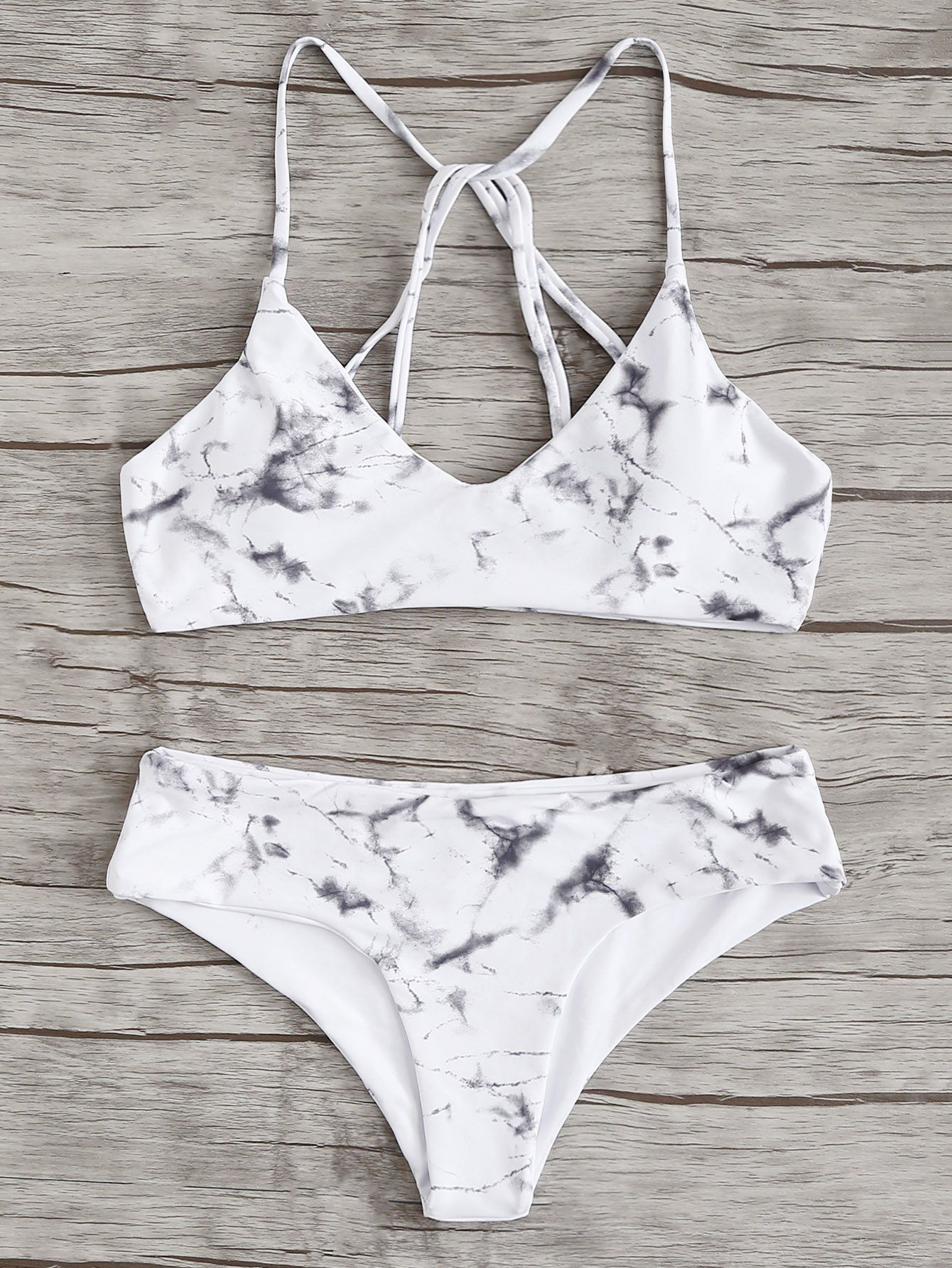 468926bacc Marble Print Bikini Set -SheIn(Sheinside) | Clothing Ideas in 2019 ...