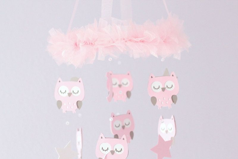 Owl Nursery Mobile with CRYSTAL acrylic beads by LoveBugLullabies, $58.00
