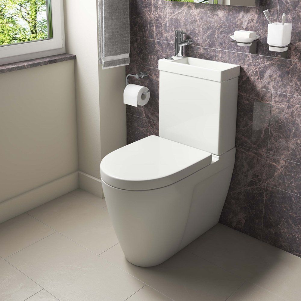 Home Standard Combo 2 In 1 Bathroom Dual Toilet Basin Sink Combination Cloakroom Set Inc Hot Cold Ta Space Saving Toilet Sink Toilet Combo Small Toilet Room